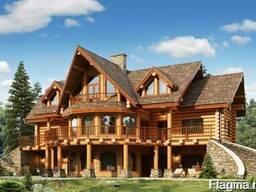 Деревянные дома из оцилиндрованного бревна, дикий сруб.
